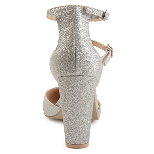 Gibson Brinley Heels Faux Chunky Strap Leather Double High Womens Silver Co Glitter rvwtErq