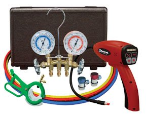 Mastercool (MSC55100-R-KIT) Electronic Leak Detector with Brass Gauge Set (Leak Mastercool Detector Electronic)