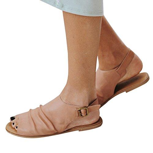 Pxmoda Moda Donna Slingback Open Toe Stivaletti Casual Strap Peep Toe Flats Sandalo Kaki