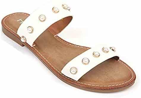 f2a2189cc T-JULY Women's Fashion Pearl Flat Sandals Comfort Soft Slip on Dress Summer  Beach Slides
