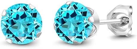 Gem Stone King 2.00 Ct 6mm Round Swiss Topaz Gemstone Birthstone 925 Sterling Silver Stud Earrings