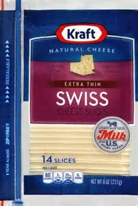 KRAFT NATURAL CHEESE SWISS EXTRA THIN BIG SLICES 8 OZ PACK OF 3