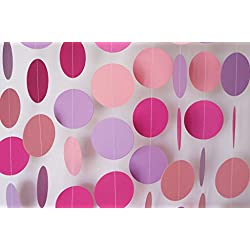 2 Pack,26Ft Circle Dots Paper Garland for Christmas Party Decorations(26Ft Set of 2) - Gold ,Glitter (Colorlful)