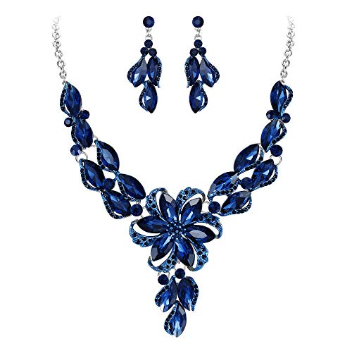 BriLove Costume Fashion Necklace Earrings Jewelry Set for Women Crystal Peach Flower Enamel Statement Necklace Dangle Earrings Set Navy Blue Sapphire Color Silver-Tone