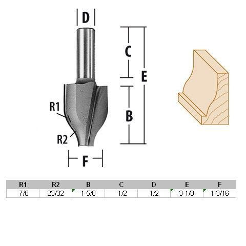 (MAKITA Router Bit - Vertical Raised Panel-Ogee 1/2 Shank C.T. Part No.733332-A )