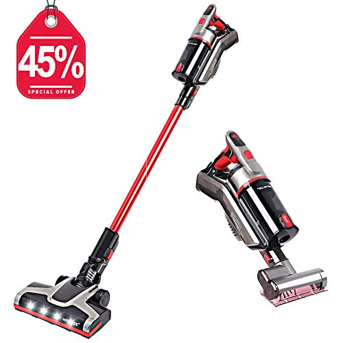 MATELOS Cordless Stick Vacuum, Handheld Vacuum Cleaner with Extra Mite Brush & 2 Charging Mount Powerful Suction Rechargeable 2 in 1 Electric Brooms