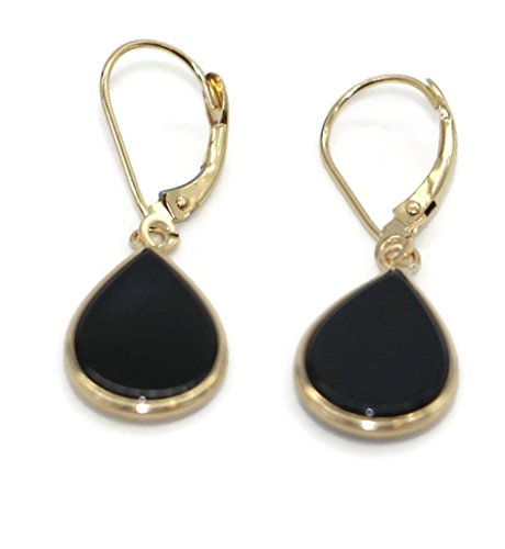 Onyx Black Pear Hanging Earrings set in 14K Yellow Gold,Leverbacks