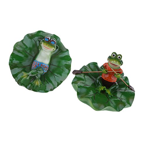MagiDeal 2x True to Nature Water Floating Ornament Pond Lily Lotus Leaf Lying & Rowing Frogs Garden Pond Fishpond Summer Swimming Pool Decor by Unknown