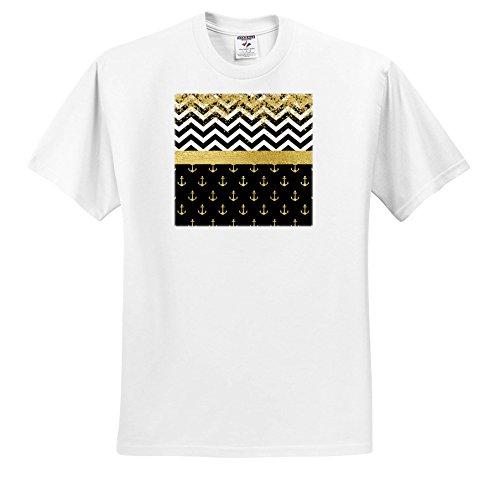 3dRose Anne Marie Baugh - Patterns - Image Of Glam Black, White, Gold Faux Glitter Chevron Stripes, Sailing Anchors - T-Shirts - White Infant Lap-Shoulder Tee (24M) - Pics 69 Black