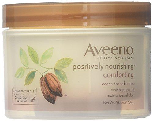 Aveeno Positively Nourishing Whipped Souffle Body Cream, 6 ounces (Pack of 2) -