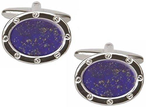 David Van Hagen Blue/Silver Lapis Lazuli Oval Cufflinks