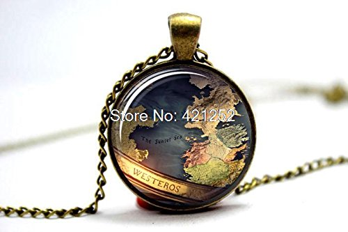 Game of Thrones Map Westeros Pendant Game of Thrones Necklace Westeros Necklace Game of Thrones Jewelry Westeros Map GoT Map