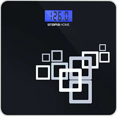 High Precision Digital Bathroom Scale with Thick Tempered Glass ≈ 550 Pounds - Utopia Home