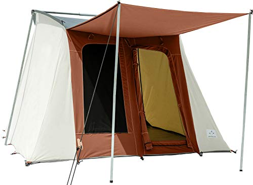 4 Season Heavy Duty 100% Cotton Canvas Luxury Family Camping Tent, Bug Mesh, Silver Coated Roof, Large Windows & D-Shaped Doors- Basic Range (Brown, 10'x10′)