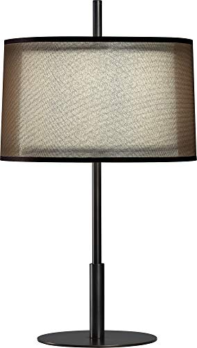 Robert Abbey Z2184 Lamps with Bronze Fabric Inner and Ascot White Outer Shades, Deep Patina Bronze Finish ()
