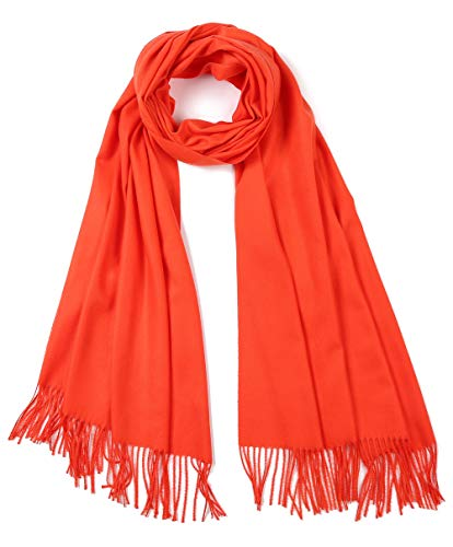 Cindy & Wendy Large Soft Cashmere Feel Pashmina Solid Shawl Wrap Scarf for Women (Orange Red)