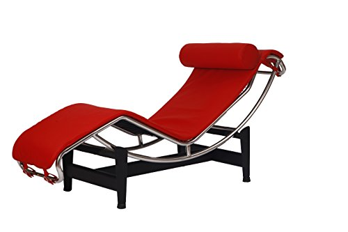 Italian Leather Ottoman (MLF Modern Style Chaise Lounge Chair(Multi Colors Available), Top Grain Red Italian Leather)