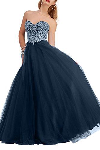 mia Abendkleider Brautmutterkleider Tanzenkleider Promkleider Festlichkleider Brau Dunkel La Partykleider Tuell Blau Spitze Navy Langes 6d6Yqf