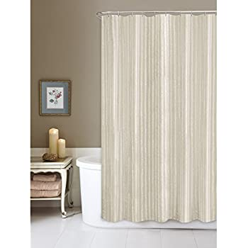 Maytex Linen Stripe Fabric Shower Curtain