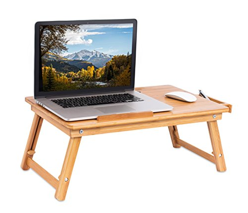 Sofia + Sam Laptop Lap Tray with Adjustable Legs | Bamboo | Foldable Breakfast Serving Bed Tray | Lap Desk with Tilting Top and Side Drawer | Laptop Stand | Natural