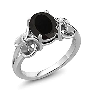 2.60 Ct Oval 9x7mm Black Onyx 925 Sterling Silver Women's Ring (Ring Size 8)