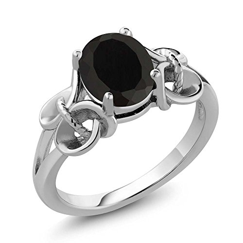 (Gem Stone King Black Onyx 925 Sterling Silver Women's Ring 2.60 Ct Oval 9x7mm (Size 6))