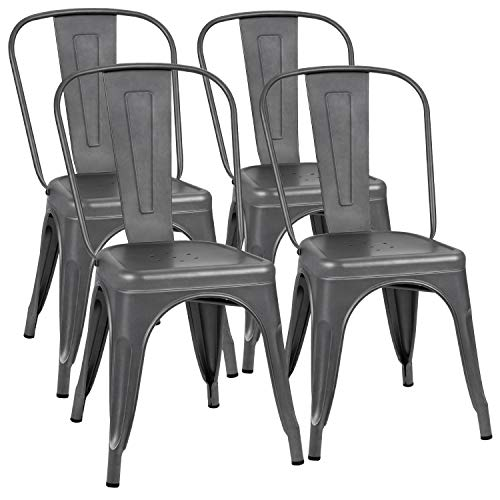 Flamaker Metal Dining Chairs Stackable Kitchen Dining Chairs Metal Chairs Bistro Cafe Side Chairs Height Restaurant Chairs Tolix Side Bar Chairs, Set of 4 (Grey)