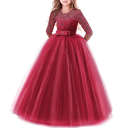 Girl's Embroidery Tulle Lace Maxi Flower Girl Wedding Dress 3/4 Sleeve Long A Line Pageant Party Formal Dance Evening Gown Burgundy 2-3 Years