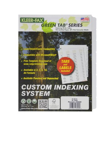 Kleerfax Custom Indexing System, 8 TAB SET, 3 Hole Punched, Translucent Plastic Labels, White Stock, 5 Sets PER Pack (24058)