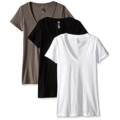 Clementine Apparel Women's Deep V Neck Tee (Pack of 3), Black/White/Warm Grey, X-Large