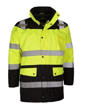 Class 3 Waterproof Fleece-Lined Parka Jacket | Reflective Rain Gear (Medium, Lime)