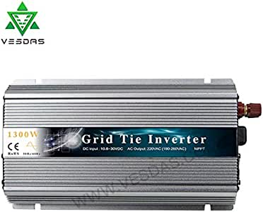 Vesdas 1300W Grid Tie Inverter Stackable MPPT Pure Sine Wave DC20-50V Solar Input AC90-140V Output for Max 1500W Solar or Wind Power Input (Silver)
