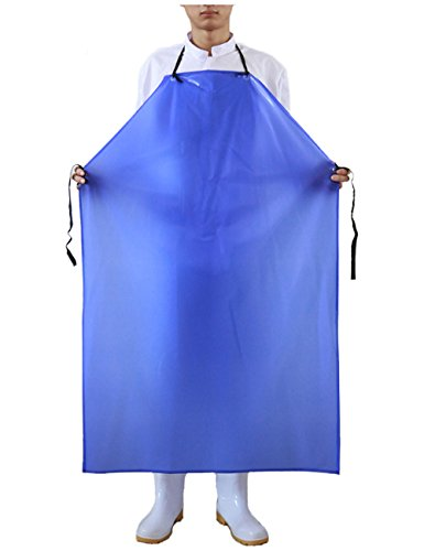 Eyelet Apron - Surblue Vinyl Waterproof Apron Plus Size Heavy Duty Work Aprons Blue