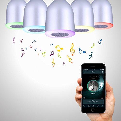 AOTOM Bluetooth Light Bulb Speaker Smart Speaker Bluetooth Light Speaker Color Changing Light Wake up Light Wireless Speaker 5W E27 for Party Birthday Gifts