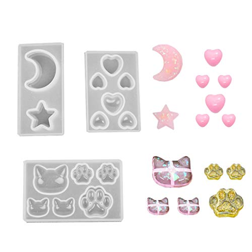 Star Casting Mold - Daimay Jewelry Casting Molds Silicone Pendant Mold Resin Molds Jewelry Making DIY Craft Tools - 3 Packs - Cat Paw Moon Star Heart