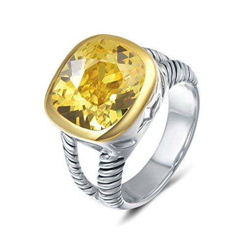 - UNY Ring Twisted Cable Wire Designer Inspired Fashion Brand David Vintage Love Antique Women Jewelry Gift (Yellow, 9)