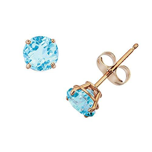 (14k Gold Genuine .50ct TW Blue Topaz December Birthstone Girls Earrings)