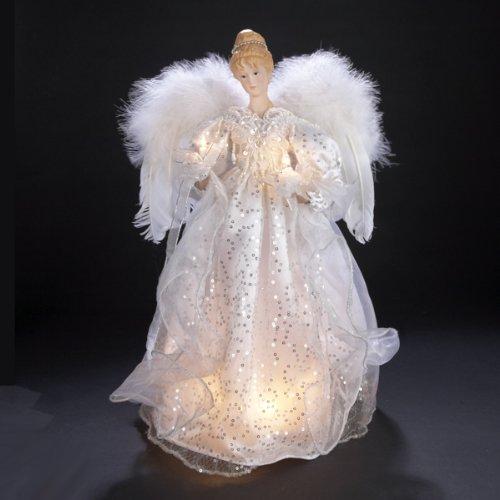 Kurt Adler 17-Inch 10-Light White/Silver Lighted Angel Treetop