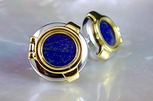 Genuine Lapis Lazuli Cufflinks, Nautical Blue Steampunk Cufflinks, Mens Cufflinks Unique Cufflinks Birthday Wedding Anniversary Gift for Him