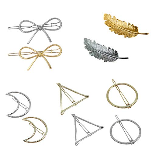 (TADAMI 10 Pack Trendy Gold Vintage Retro Geometric Minimalist Metal Hair Clip Snap Barrette Clamp Pins Hairclip Wedding Party Hair Styling Accessories for Women Lady)