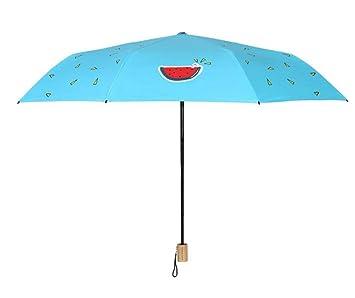 Hongge Paraguas Pintados a Mano sandía Paraguas Negro plástico Anti-ultravioletas Sol Paraguas Chica Estudiante