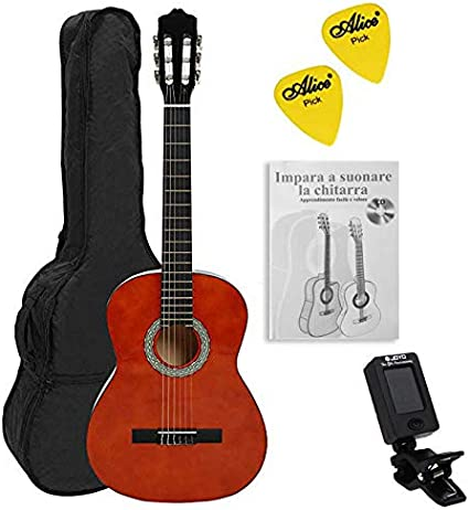 NAVARRA NV13PK Guitarra acustica STARTER PACK 3/4 honey con bordes negro, Cliptuner pantalla LCD de aguja con iluminación de fondo, 2 Púa