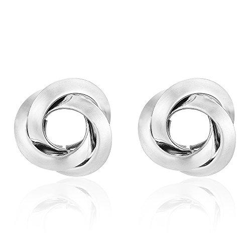 Modern Design Earrings (Mytys Stainless Steel Silver Matte Brushed Circle Cross Design Modern Earrings for Women Girl)