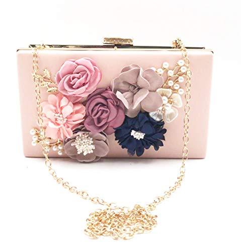 Goldina Women' Flower Clutches Evening Bag Clutch Handbag Pearl Beaded Wedding Party Purse