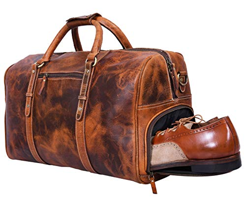 Leather Travel Duffle Bag | Gym Sports Bag Airplane Luggage Carry-On Bag By Aaron Leather (Medallion) ()