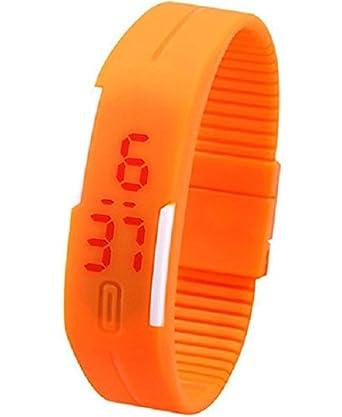 選べる 15色 led ウォッチ スポーツ メンズ レディース かっこいい かわいい アクセサリー 腕時計 生活防水 (オレンジ