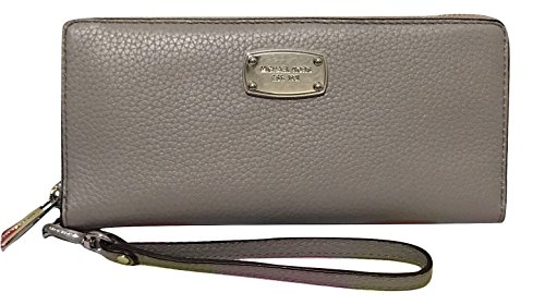 Michael Kors Pearl Grey Leather Jet Set Travel Continental Zip Around Wallet Wristlet (Wallet Continental Zip Leather)
