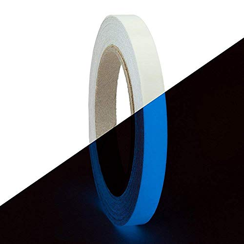 - RED Shield Glow in The Dark Tape. Luminous, Fluorescent Self-Adhesive Sticker. Removable, Waterproof, Photoluminescent. for Decoration, Illuminating Objects at Night. [40 x 0.625 inches, Blue 2 PK]