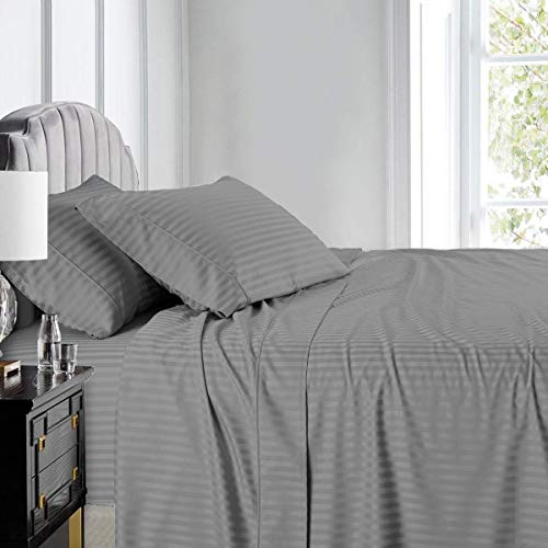 Royal Hotel Stripe Sheets - Split-King: Adjustable King Bed Sheets - 5PC Bed Sheet Set - 100% Cotton - 600 Thread Count - Deep Pocket, Split King, Gray
