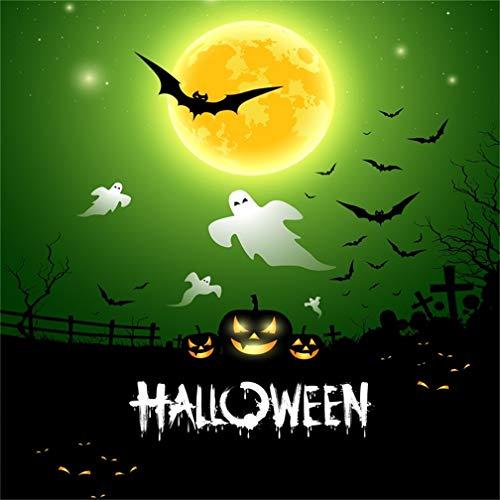 Leyiyi 5x5ft Cartoon Happy Halloween Backdrop Gothic Graveyard Full Moon Starry Bats Pumpkin Lanterns Ghost Tombstone Cross Photography Background Horror Costume Night Photo Studio Prop Vinyl -